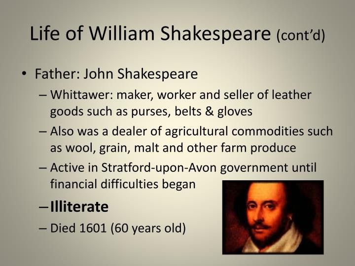 Life of william shakespeare cont d