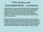 fpc actions and accomplishments a sampling