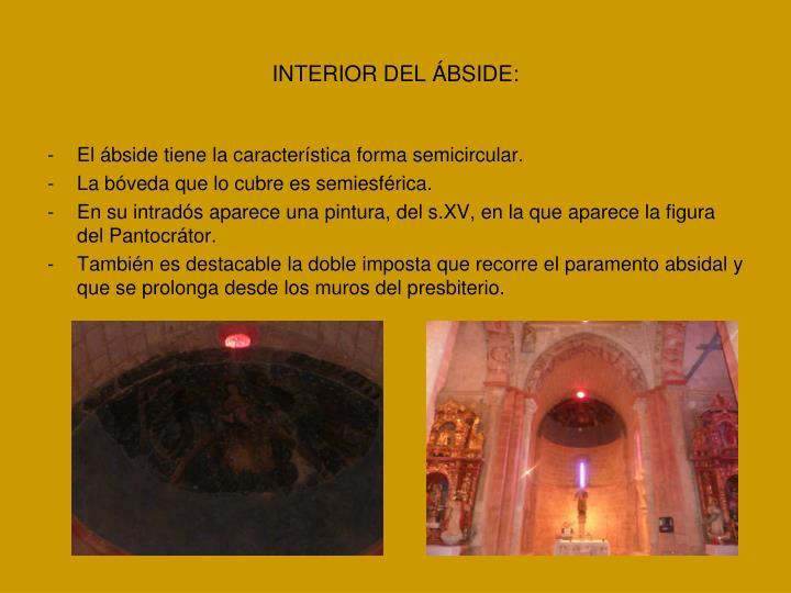 INTERIOR DEL ÁBSIDE: