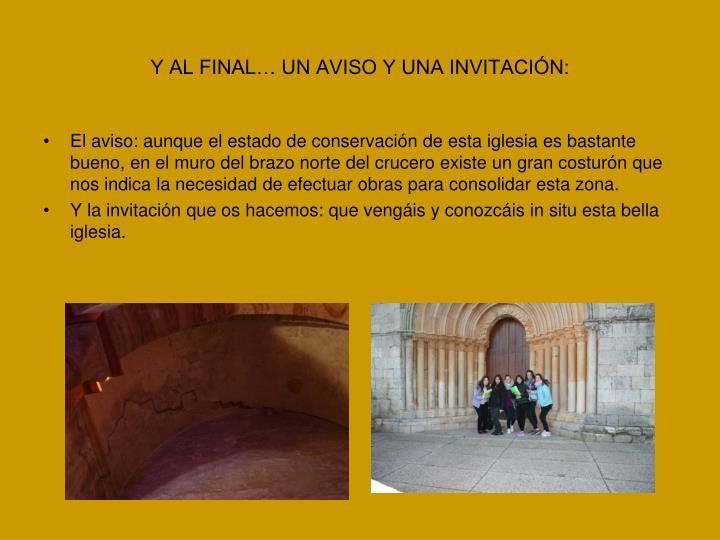Y AL FINAL… UN AVISO Y UNA INVITACIÓN:
