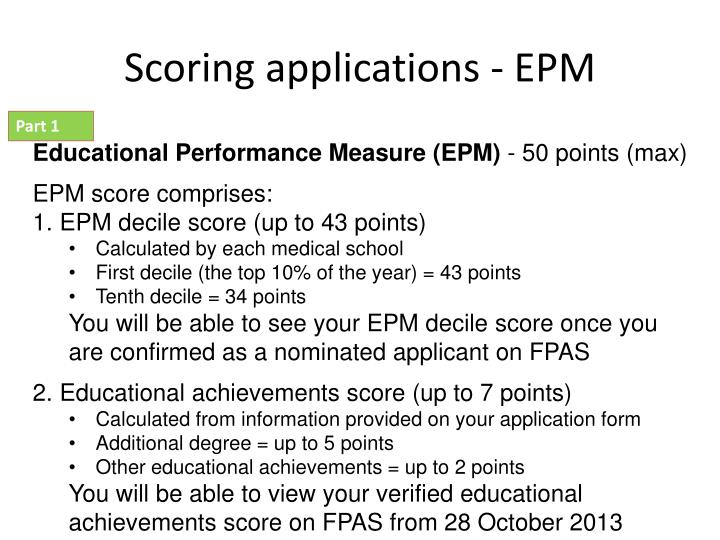Scoring applications - EPM