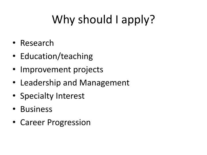 Why should i apply