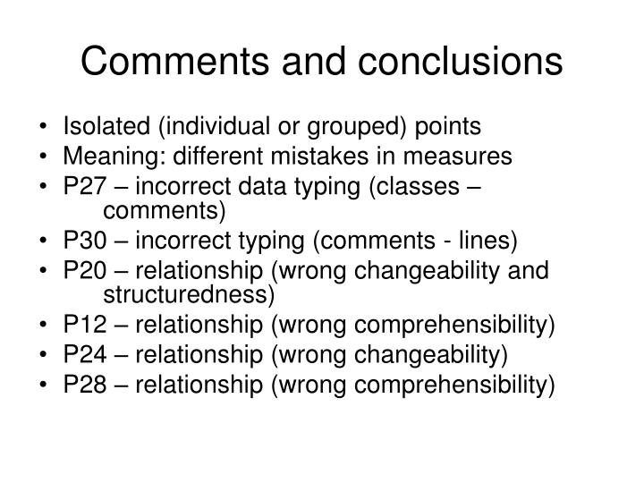 Comments and conclusions