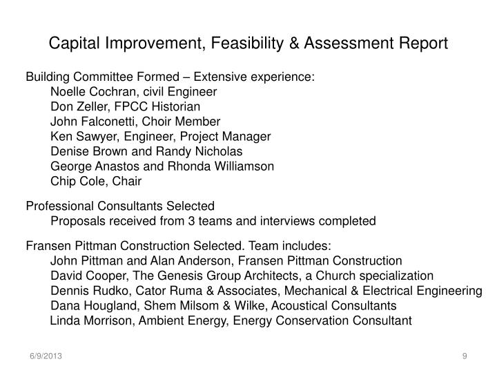 Capital Improvement, Feasibility & Assessment Report