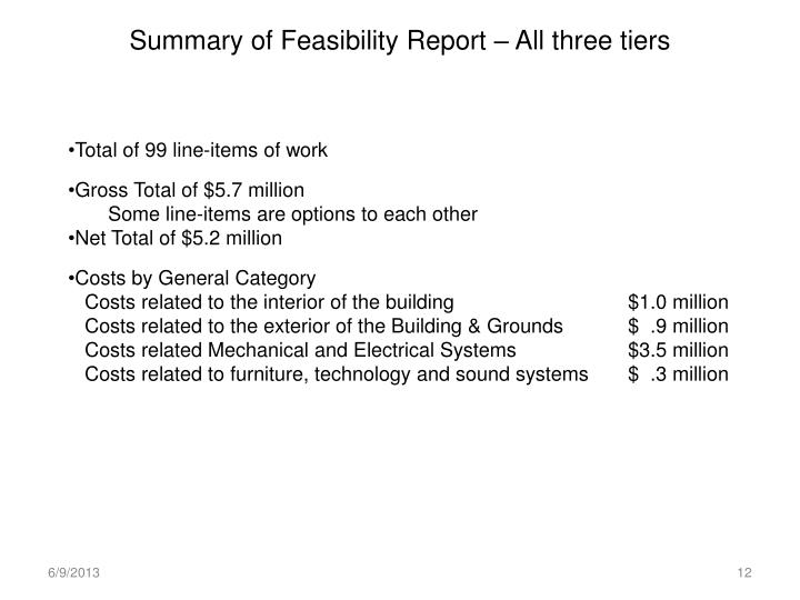 Summary of Feasibility Report – All three tiers