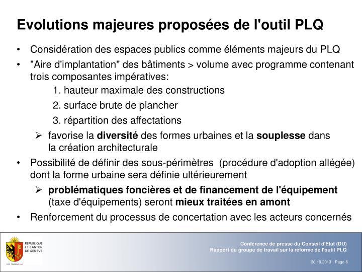 Evolutions majeures proposées de l'outil PLQ