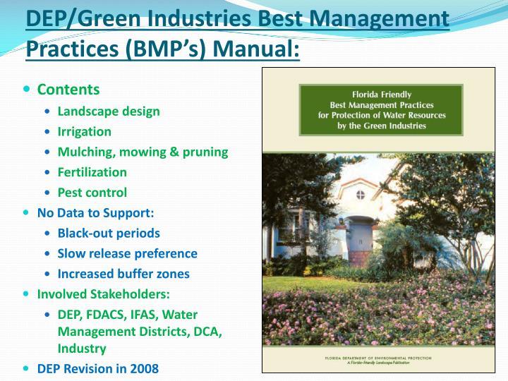 DEP/Green Industries Best Management Practices (BMP's) Manual: