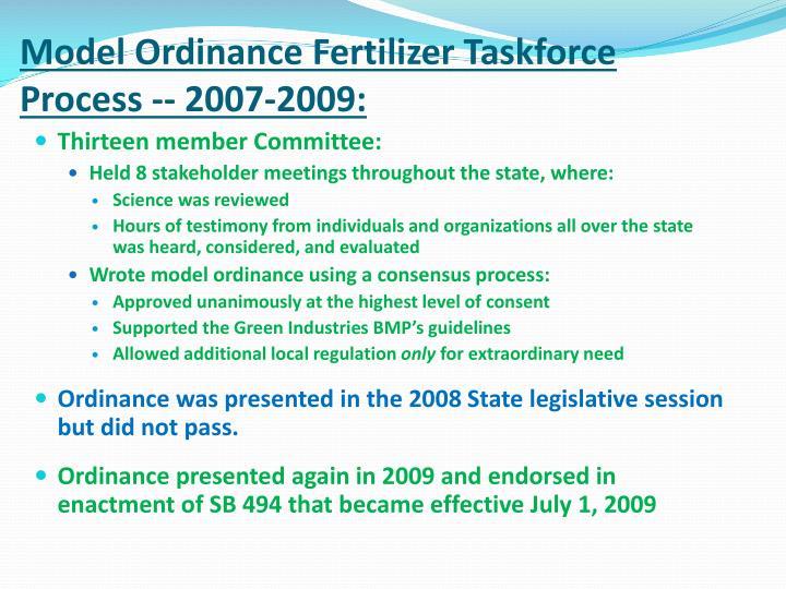 Model Ordinance Fertilizer Taskforce Process -- 2007-2009: