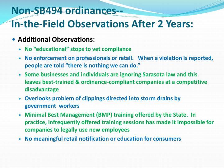 Non-SB494 ordinances--