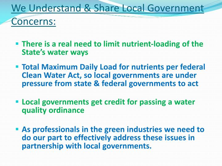 We understand share local government concerns