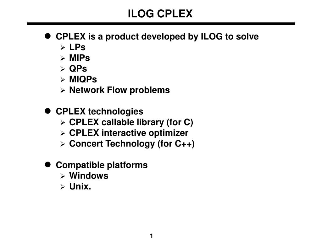 PPT - ILOG CPLEX PowerPoint Presentation - ID:4118087