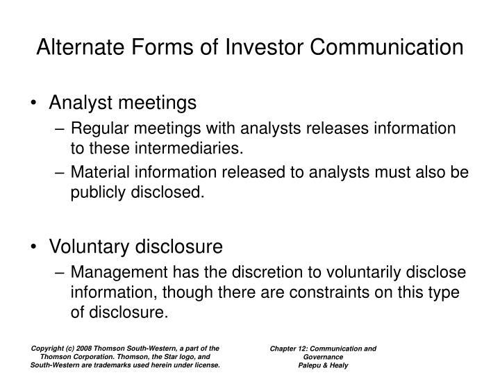 Alternate Forms of Investor Communication