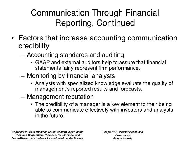 Communication Through Financial Reporting, Continued
