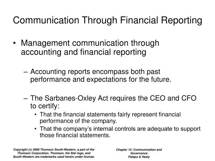 Communication Through Financial Reporting