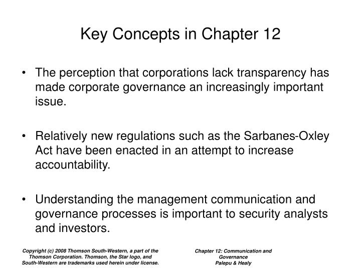 Key concepts in chapter 12