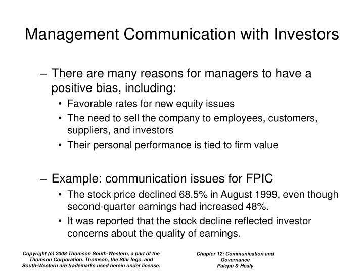 Management Communication with Investors