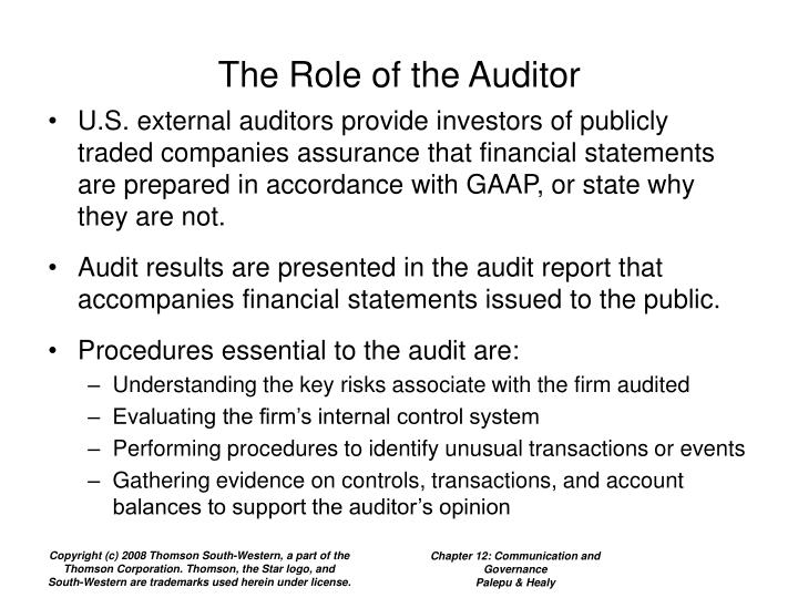 The Role of the Auditor