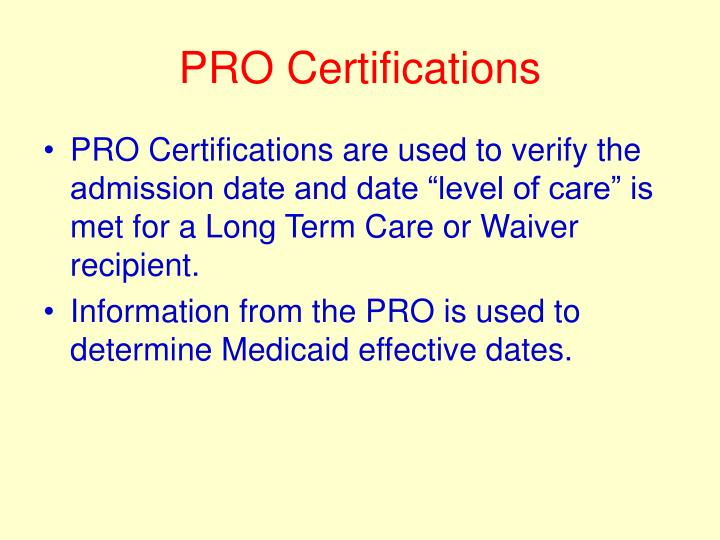 Pro certifications
