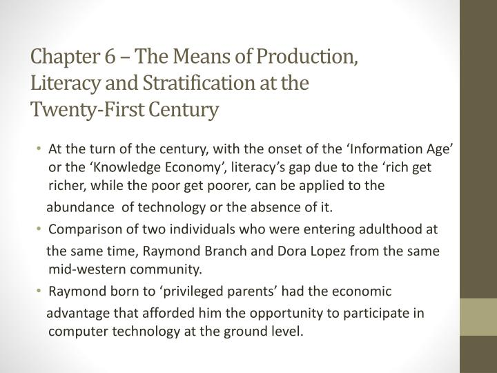Chapter 6 – The Means of Production,