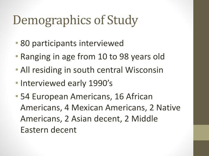 Demographics of study