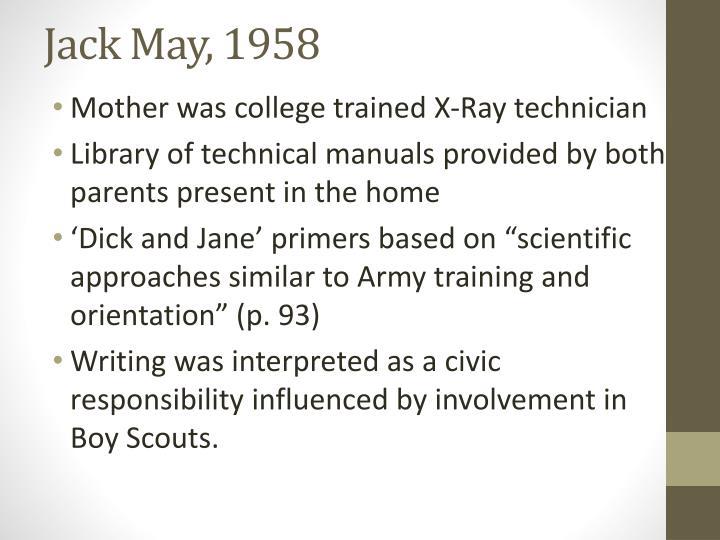 Jack May, 1958