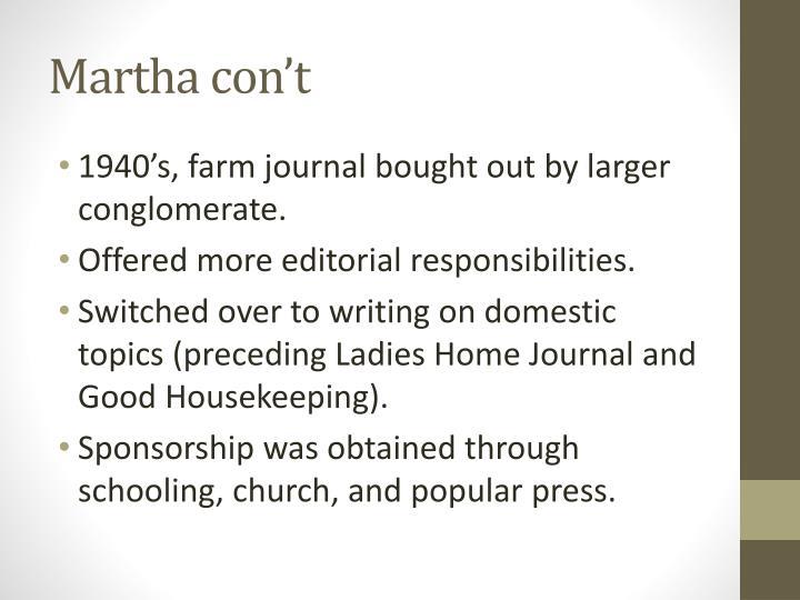 Martha con't