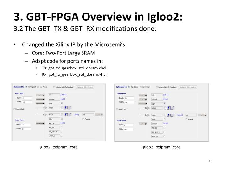 3. GBT-FPGA Overview in Igloo2: