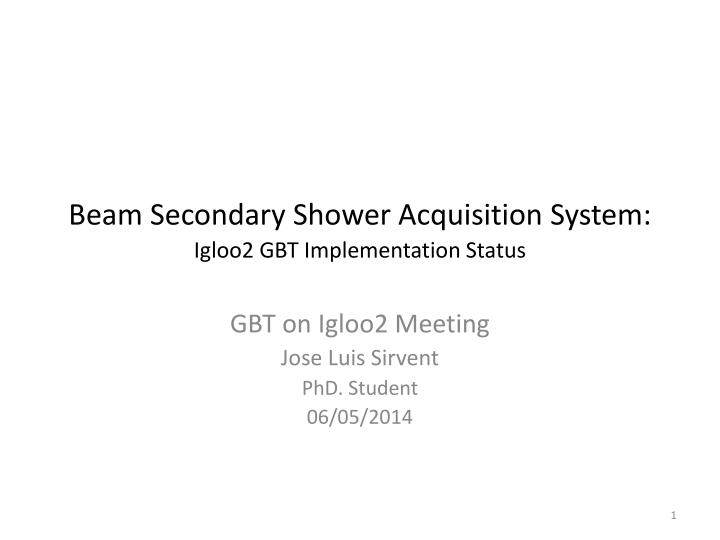 Beam secondary shower acquisition system igloo2 gbt implementation status