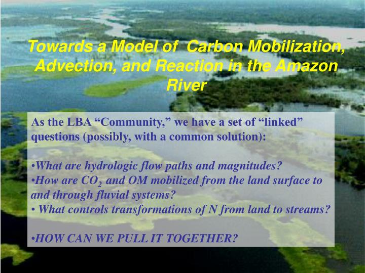Towards a Model of Carbon Mobilization, Advection, and Reaction in the Amazon River