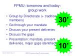 fpmu tomorrow and today group work