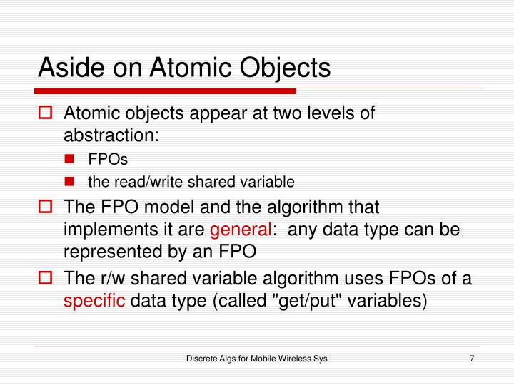 Aside on Atomic Objects