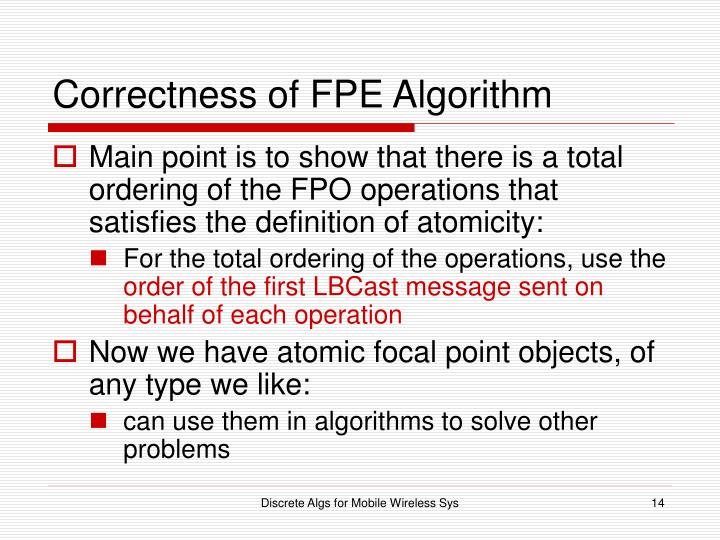 Correctness of FPE Algorithm