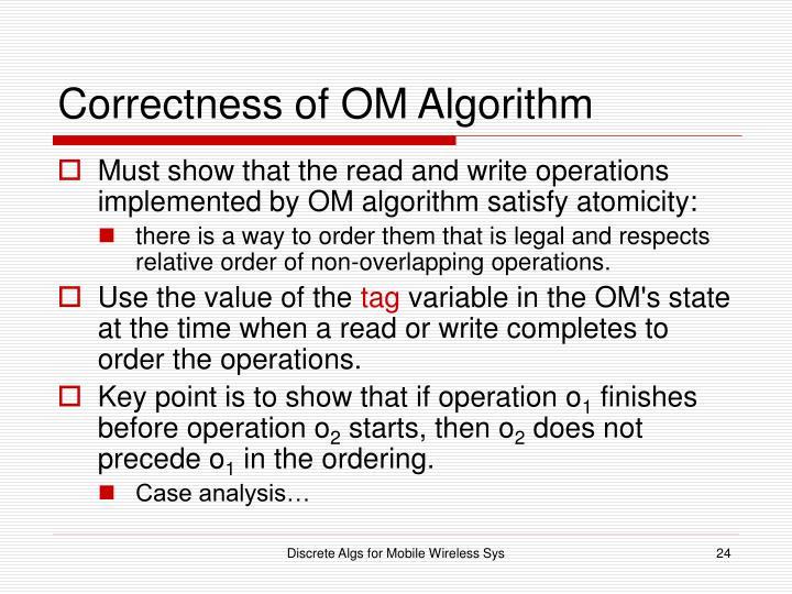 Correctness of OM Algorithm