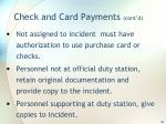 check and card payments cont d