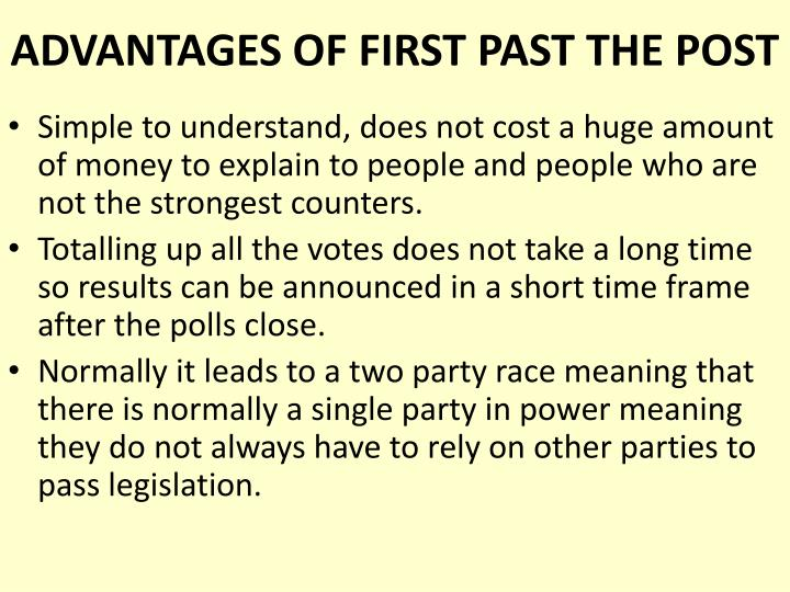 Advantages of first past the post