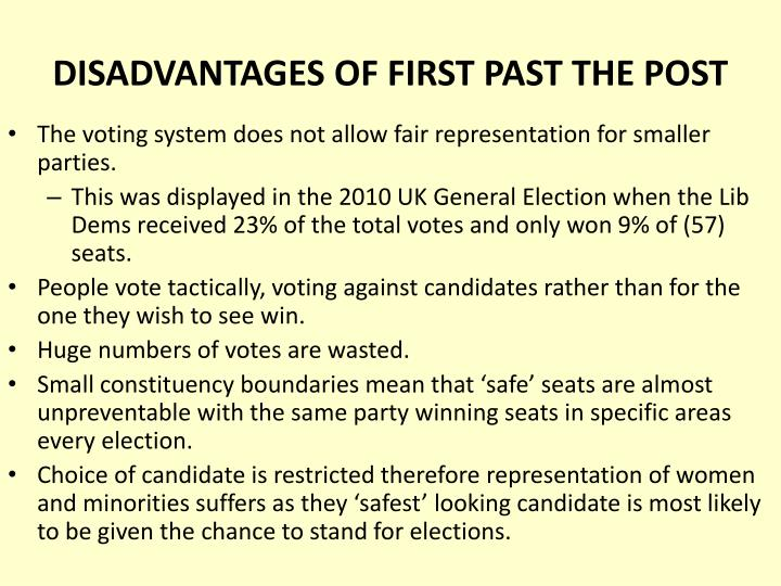 DISADVANTAGES OF FIRST PAST THE POST