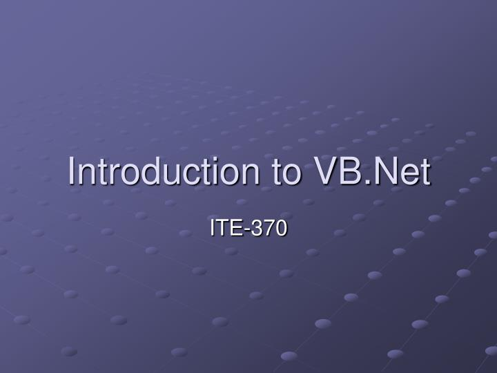 Introduction to vb net