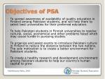 objectives of psa