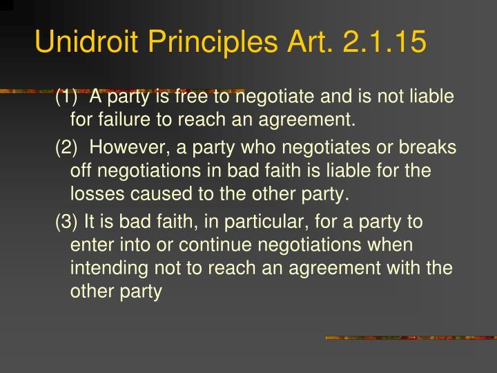 Unidroit Principles Art. 2.1.15