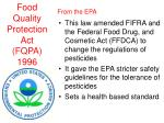 food quality protection act fqpa 1996