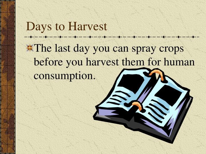 Days to Harvest