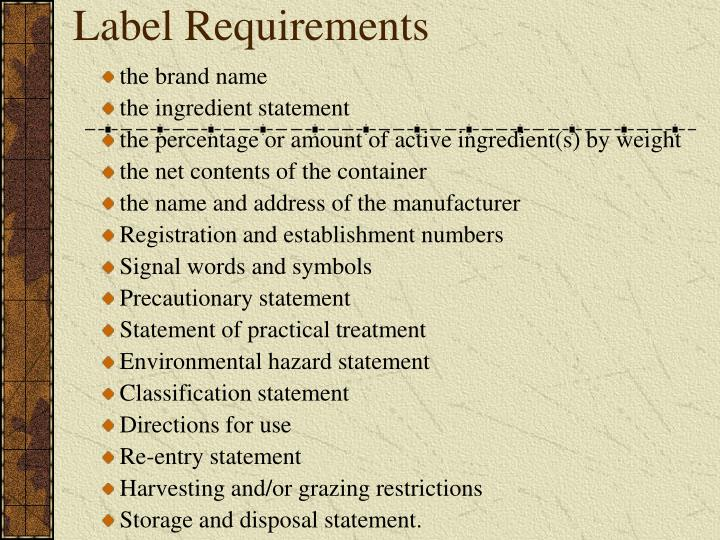 Label Requirements