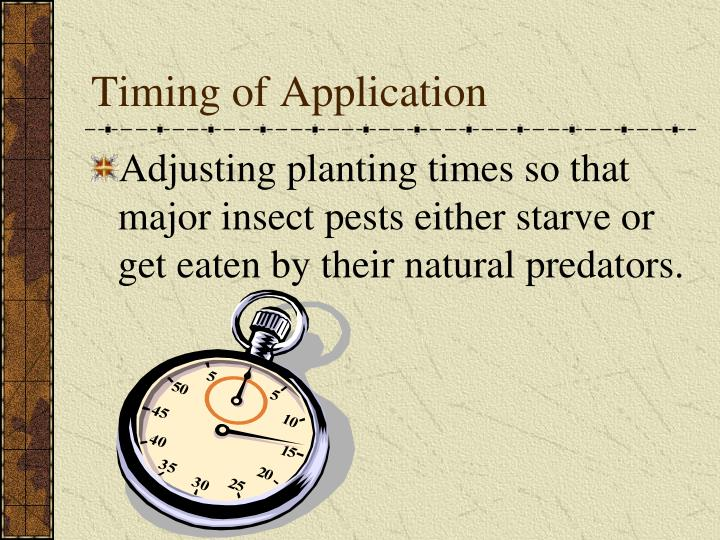Timing of Application