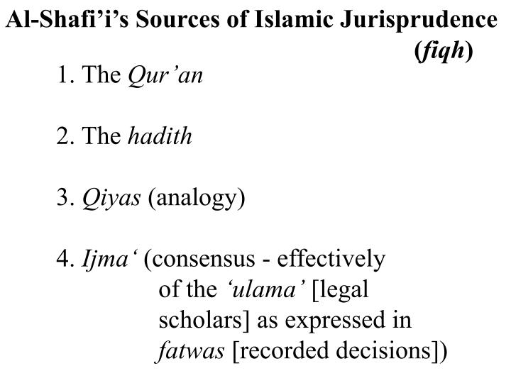 Al-Shafi'i's Sources of Islamic Jurisprudence