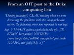 from an oit post to the duke computing list