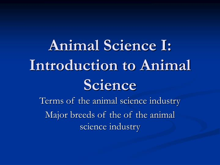animal science i introduction to animal science n.