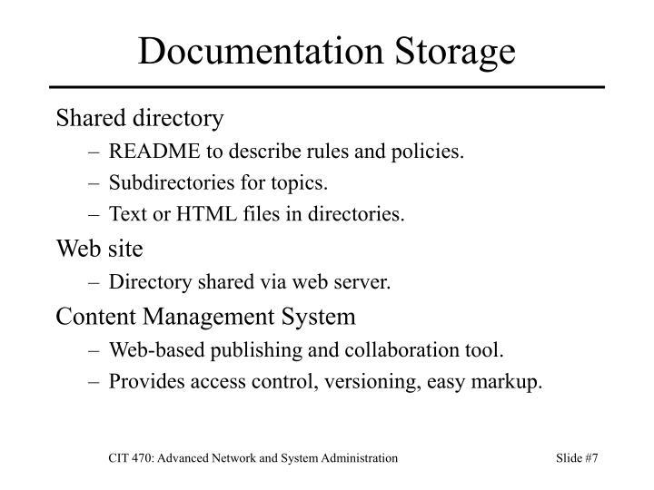 Documentation Storage