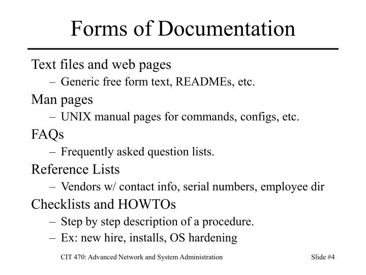 Forms of Documentation