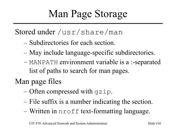 Man Page Storage