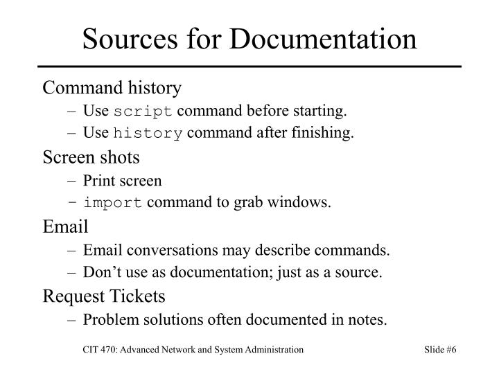 Sources for Documentation